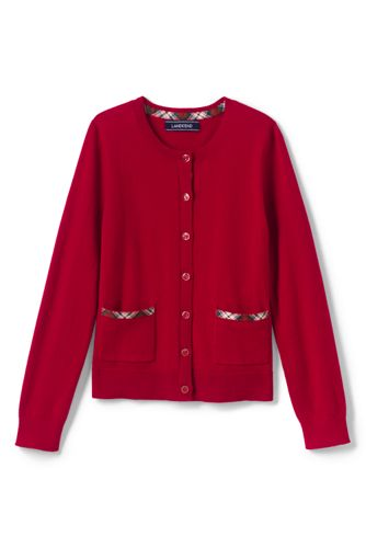 Little Girls' Tartan Trim Sophie Cardigan