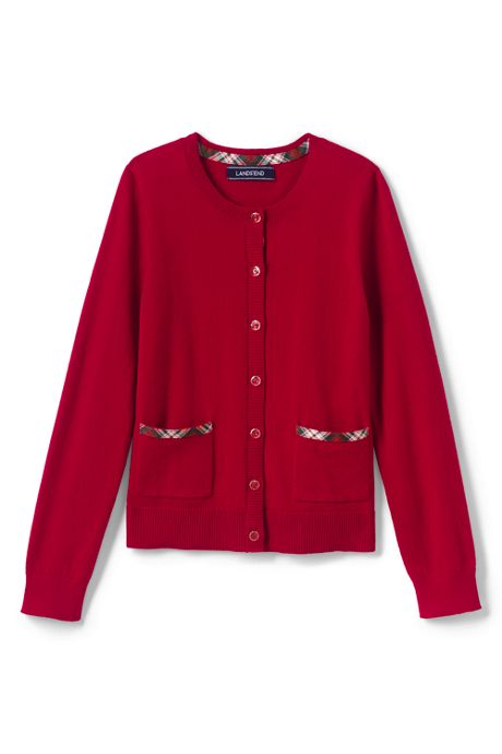 Little Girls Plaid Trim Sophie Cardigan