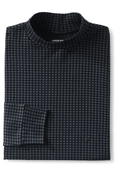 Men's Tall Pattern Super Soft Supima Mock Turtleneck