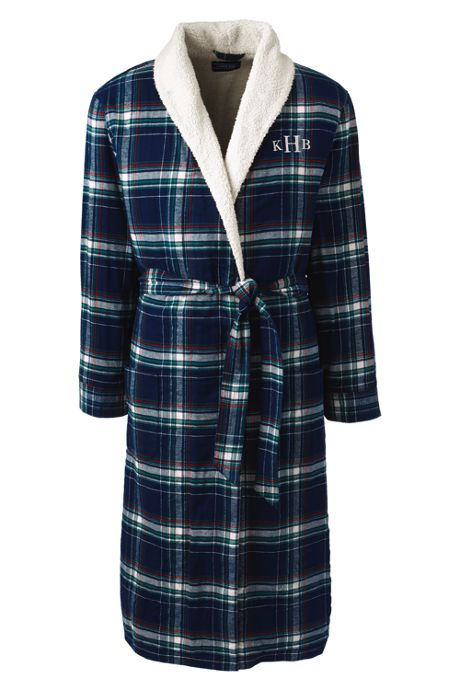 Men's Sherpa Lined Flannel Robe