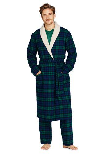 La Robe de Chambre en Flanelle Doublée Polaire Sherpa, Homme Stature Standard