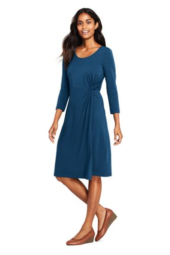 Women's Petite Knotted Wrap Jersey Dress