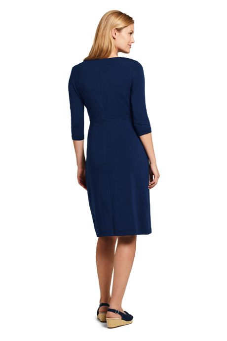 Women's 3/4 Sleeve Knit Scoopneck Knot Dress