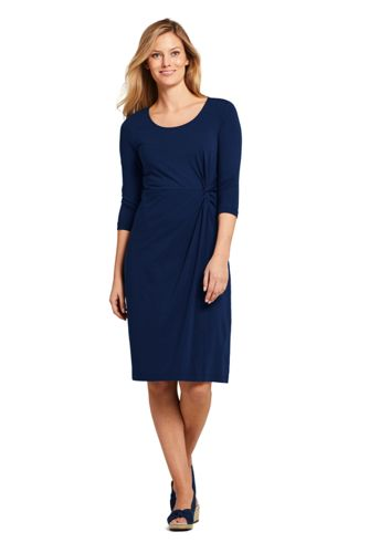 Women's 3/4 Sleeve Knit Scoopneck Knot Dress by Lands' End