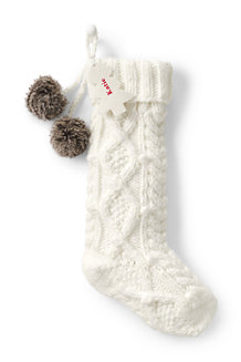Cable Knit Pom-Pom Stocking