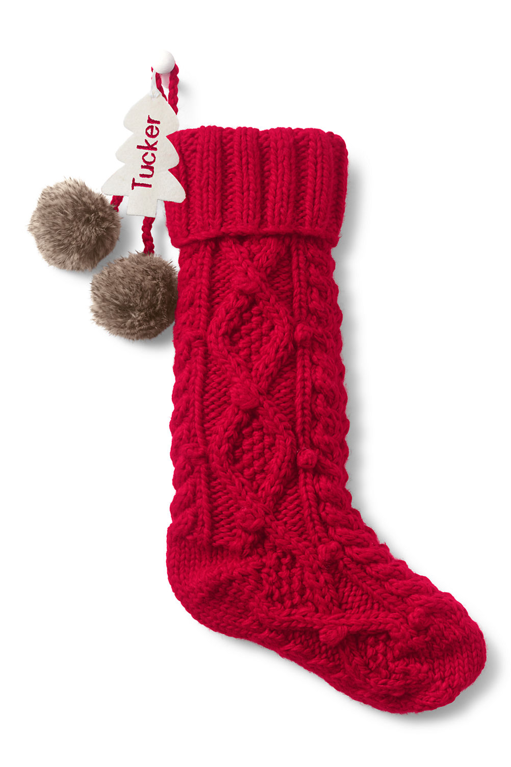 Cable Knit Pom Christmas Stocking from Lands\' End