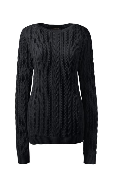 Women's Plus Size Combed Cotton Cable Sweater