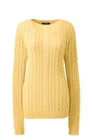 Women's Petite Combed Cotton Cable Sweater