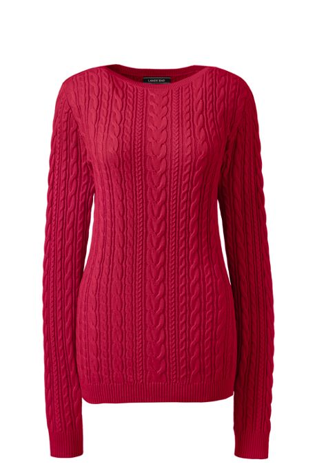 Women's Combed Cotton Cable Sweater