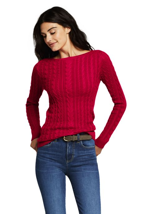 Women's Tall Combed Cotton Cable Sweater