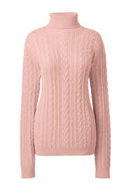 Women's Combed Cotton Cable Turtleneck Sweater