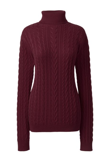 Women's Petite Combed Cotton Cable Turtleneck Sweater