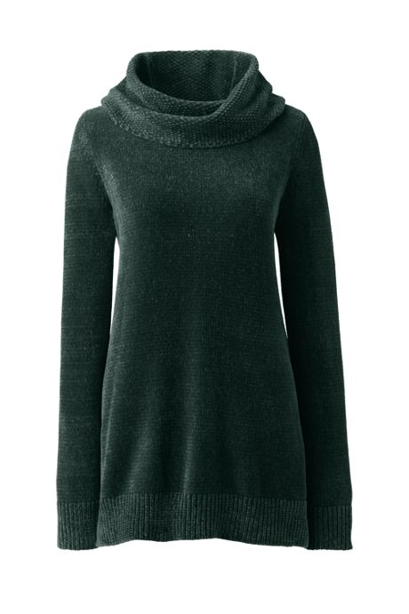 Women's Chenille Tunic Sweater Cowl Neck