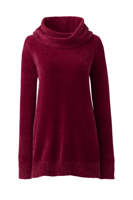Women's Tall Chenille Tunic Sweater Cowl Neck