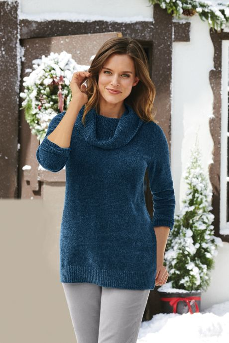 Women's Tall Chenille Tunic Sweater Cowl Neck