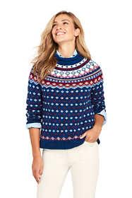 Women's Tall Fair Isle Cozy Lofty Roll Neck Sweater
