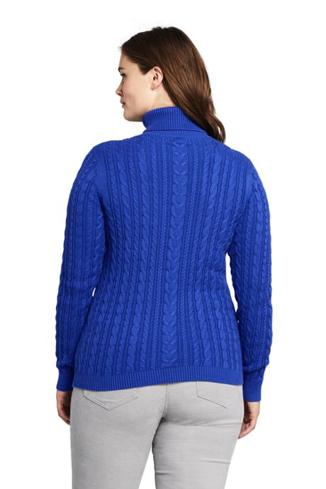Women's Plus Size Combed Cotton Cable Turtleneck Sweater