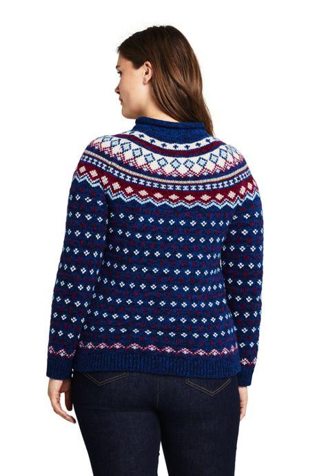 Women's Plus Size Fair Isle Cozy Lofty Roll Neck Sweater