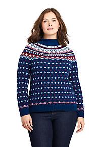 womens plus size fair isle cozy lofty roll neck sweater