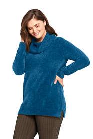 Women's Plus Size Chenille Tunic Sweater Cowl Neck