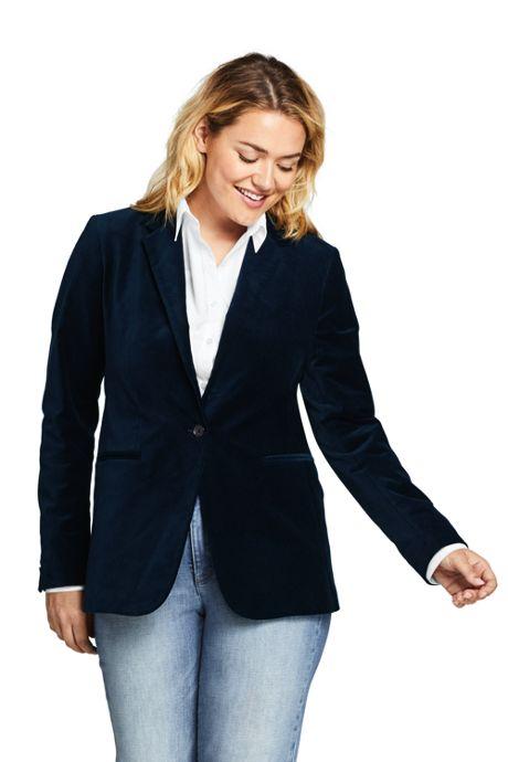 Women's Plus Size Velvet Blazer