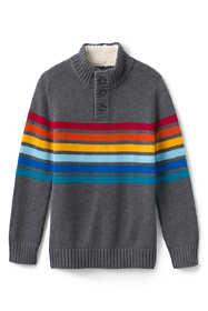 Boys Button Mock Neck Sweater