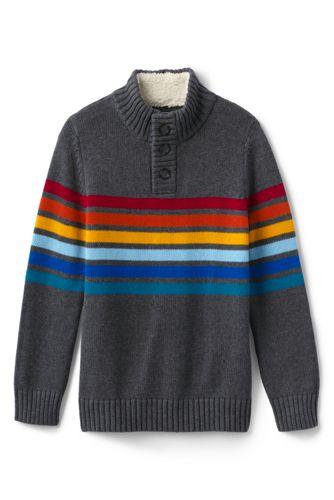 Boys' Button-neck Chest Stripe Cotton Jumper