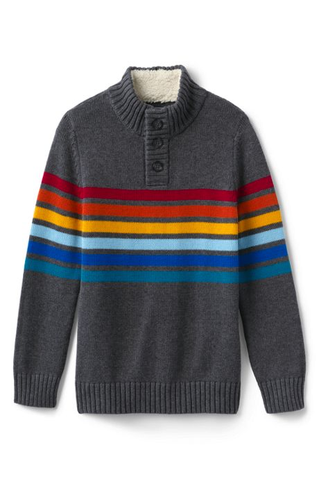 Little Boys Button Mock Neck Sweater