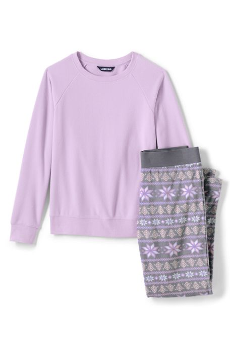 Women's Petite Long Sleeve Fleece Pajama Set