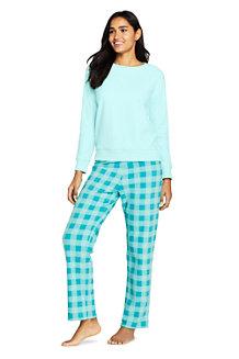 Fleece Pyjama-Set mit gemusterter Hose