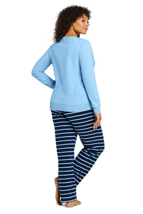 Women's Plus Size Long Sleeve Fleece Pajama Set