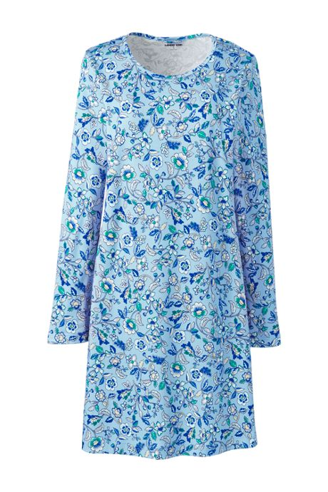 Women's Knee Length Supima Cotton Nightgown Print Long Sleeve