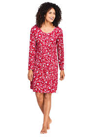 Women's Petite Knee Length Supima Cotton Nightgown Print Long Sleeve