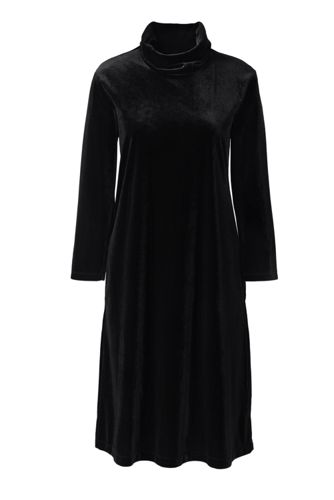 Women's Petite Velvet Cowl Neck Dress