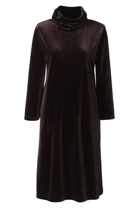 Women's Plus Size 3/4 Sleeve Velvet Cowl Neck Dress