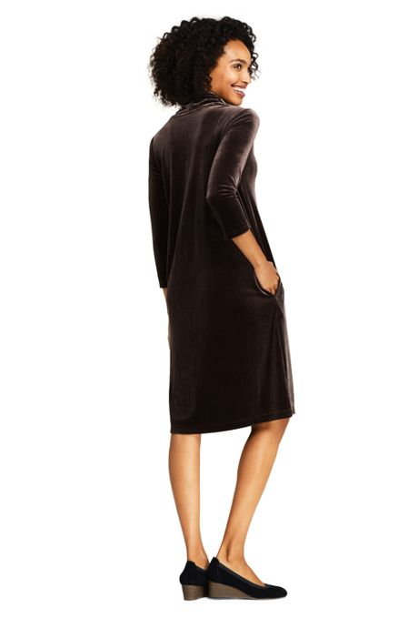 Women's 3/4 Sleeve Velvet Cowl Neck Dress