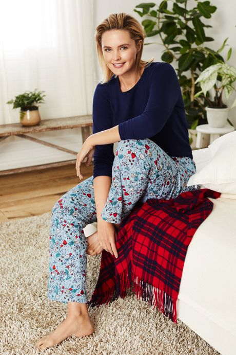 Women's Plus Size Long Sleeve Print Knit Pajama Sleep Set