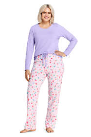 Women's Plus Size Knit Pajama Set Long Sleeve T-Shirt and Pants