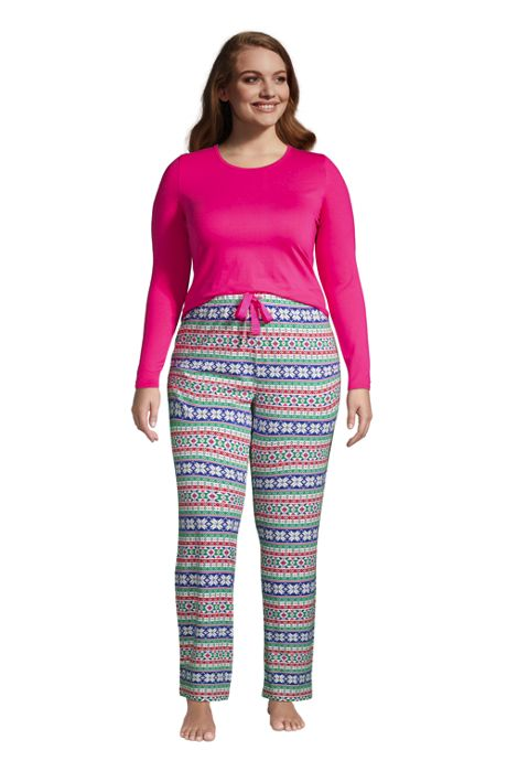 Women's Plus Size Knit Pajama Set Long Sleeve T-Shirt and Pants