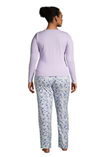 Lands End Womens Knit Pajama Set Long Sleeve T-Shirt and Pants
