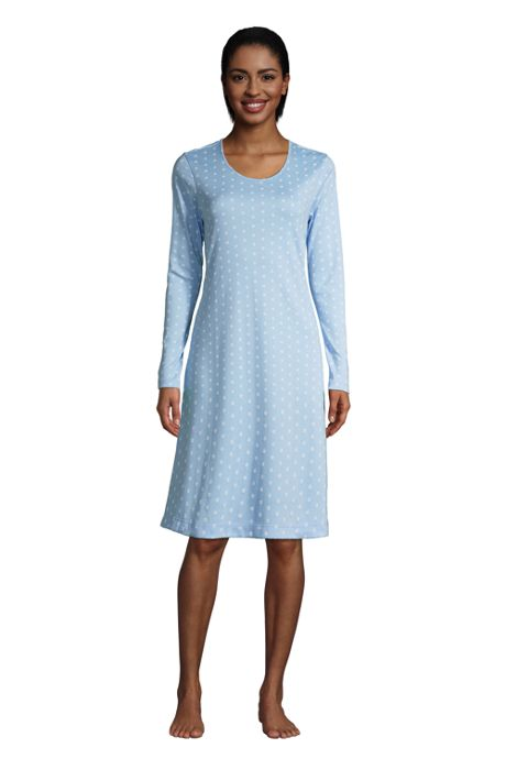 Women's Petite Supima Cotton Long Sleeve Knee Length Nightgown