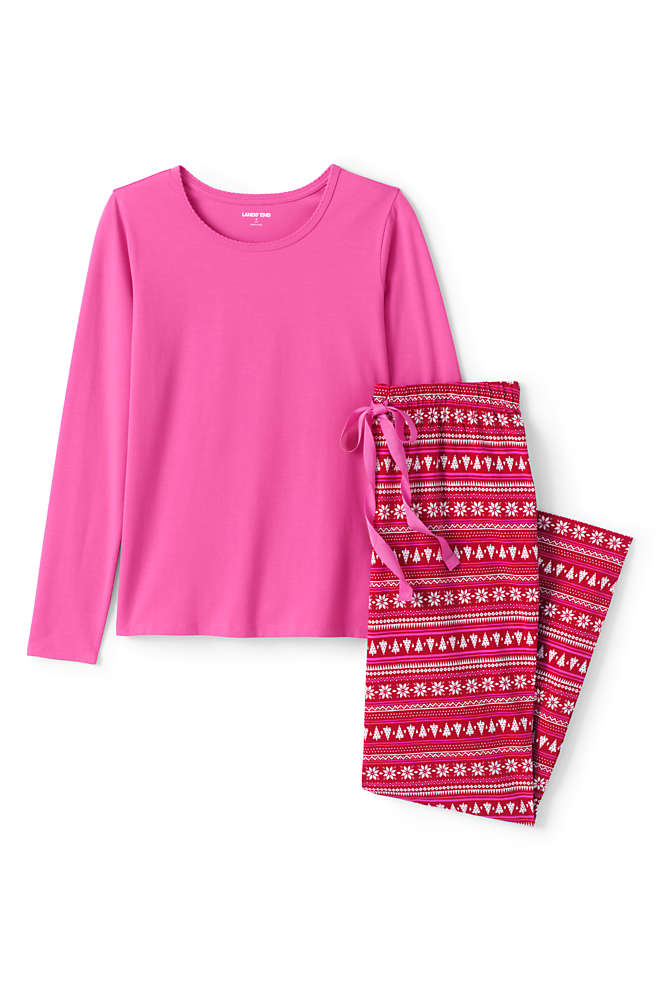 Women's Plus Size Knit Pajama Set Long Sleeve T-Shirt and Pants, Front