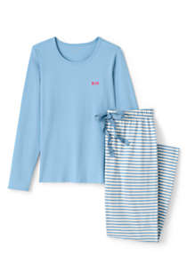 Women's Knit Pajama Set Long Sleeve T-Shirt and Pants, Front