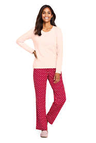 Women's Petite Long Sleeve Print Knit Pajama Set