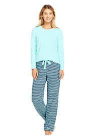 Women's Petite Knit Pajama Set Long Sleeve T-Shirt and Pants