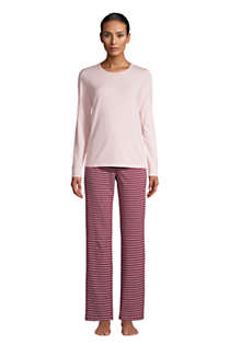 Women's Petite Knit Pajama Set Long Sleeve T-Shirt and Pants, alternative image