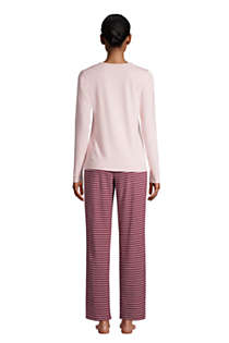 Women's Petite Knit Pajama Set Long Sleeve T-Shirt and Pants, Back
