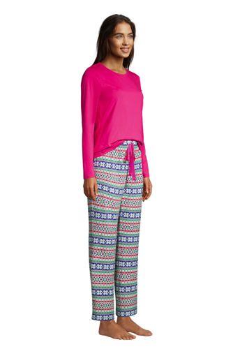 Women's Knit Pajama Set Long Sleeve T-Shirt and Pants