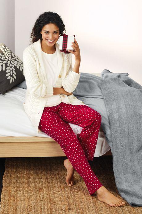 Women's Petite Long Sleeve Print Knit Pajama Sleep Set