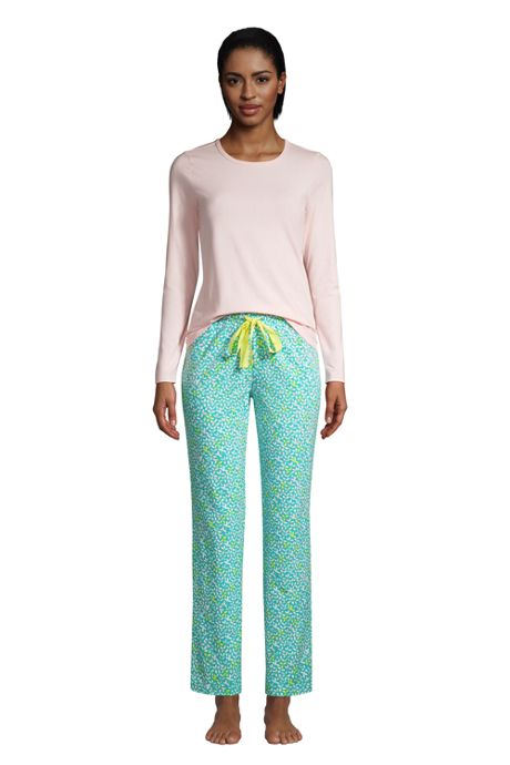 Women's Tall Knit Pajama Set Long Sleeve T-Shirt and Pants